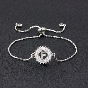 """Silver Round Letter """"F"""" Initial Name CZ Bracelet"""